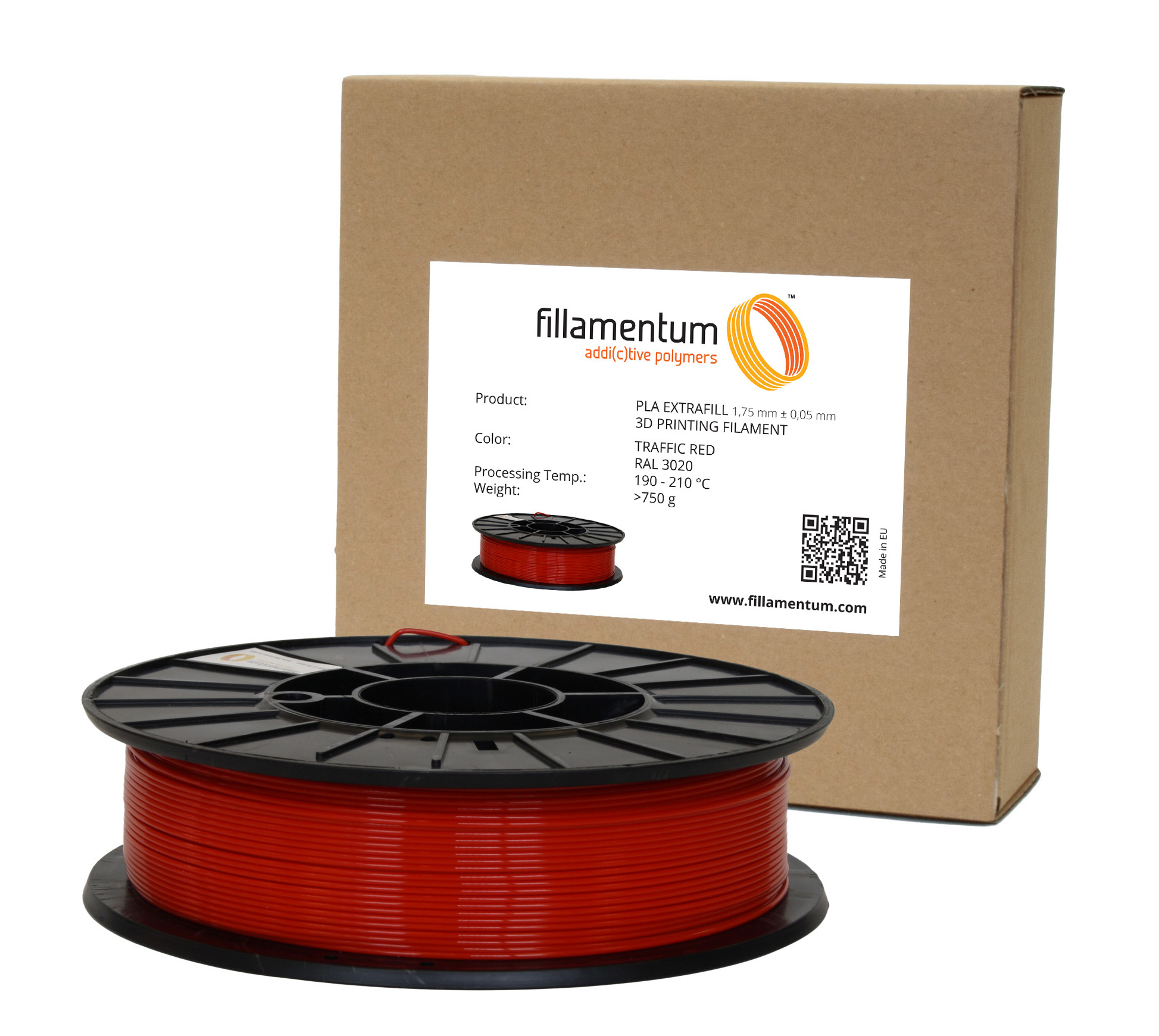 Fillamentum PLA 1,75mm Traffic Red RAL 3020