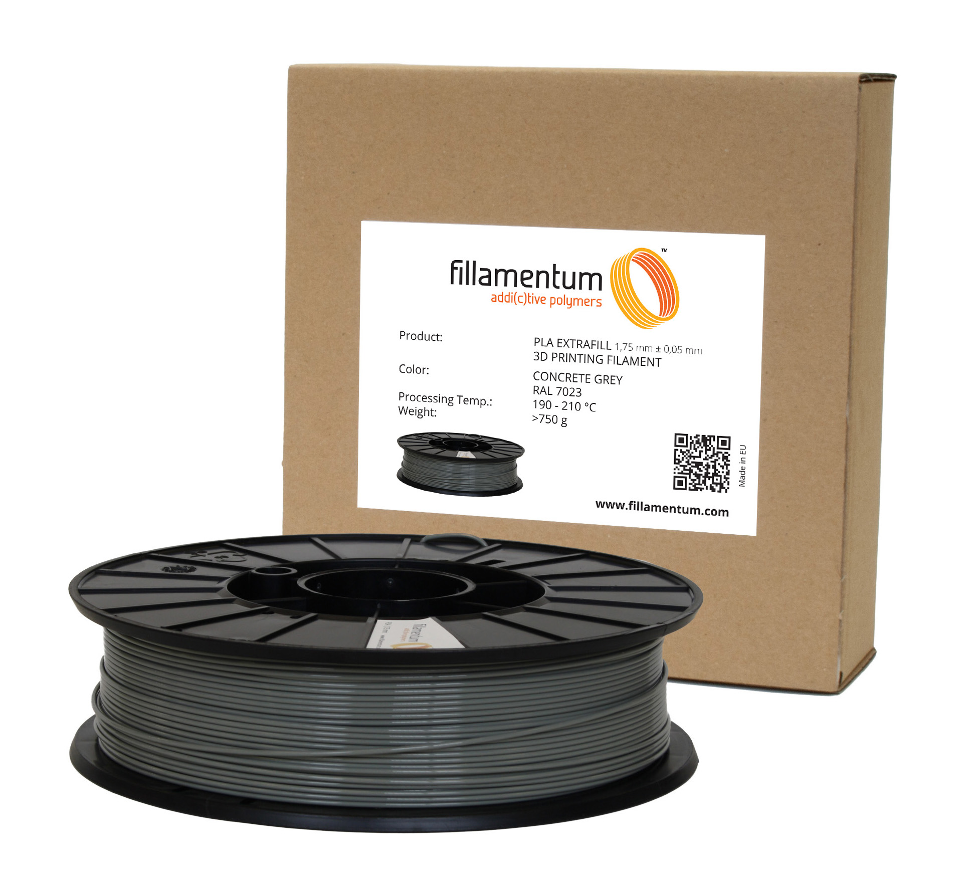 Fillamentum PLA 1,75mm Concrete Grey RAL 7023