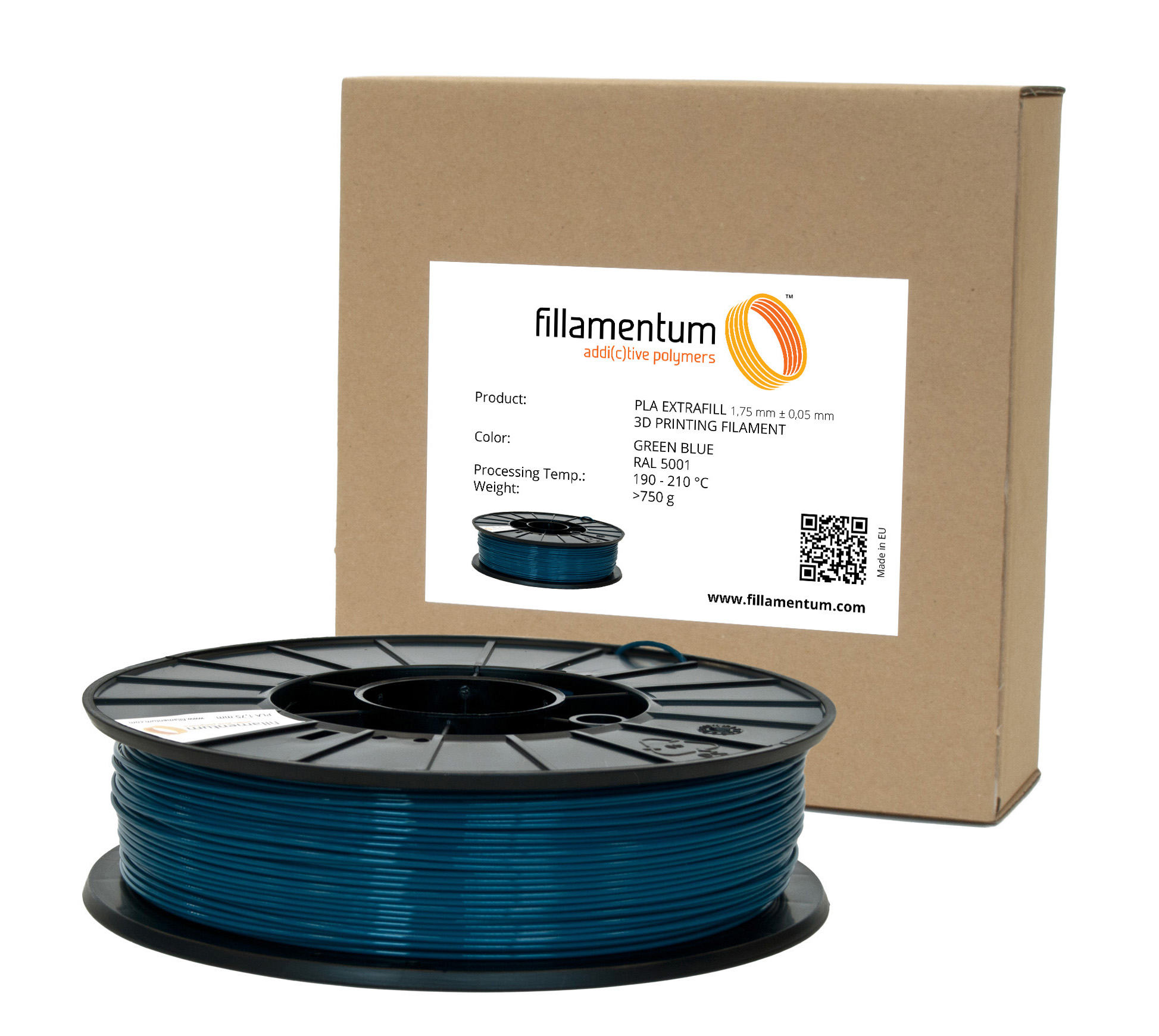 Fillamentum PLA 1,75mm Green Blue RAL 5001