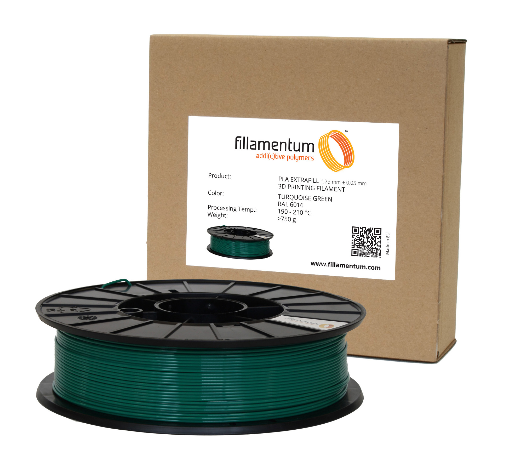 Fillamentum PLA 1,75mm Turquoise Green RAL 6016
