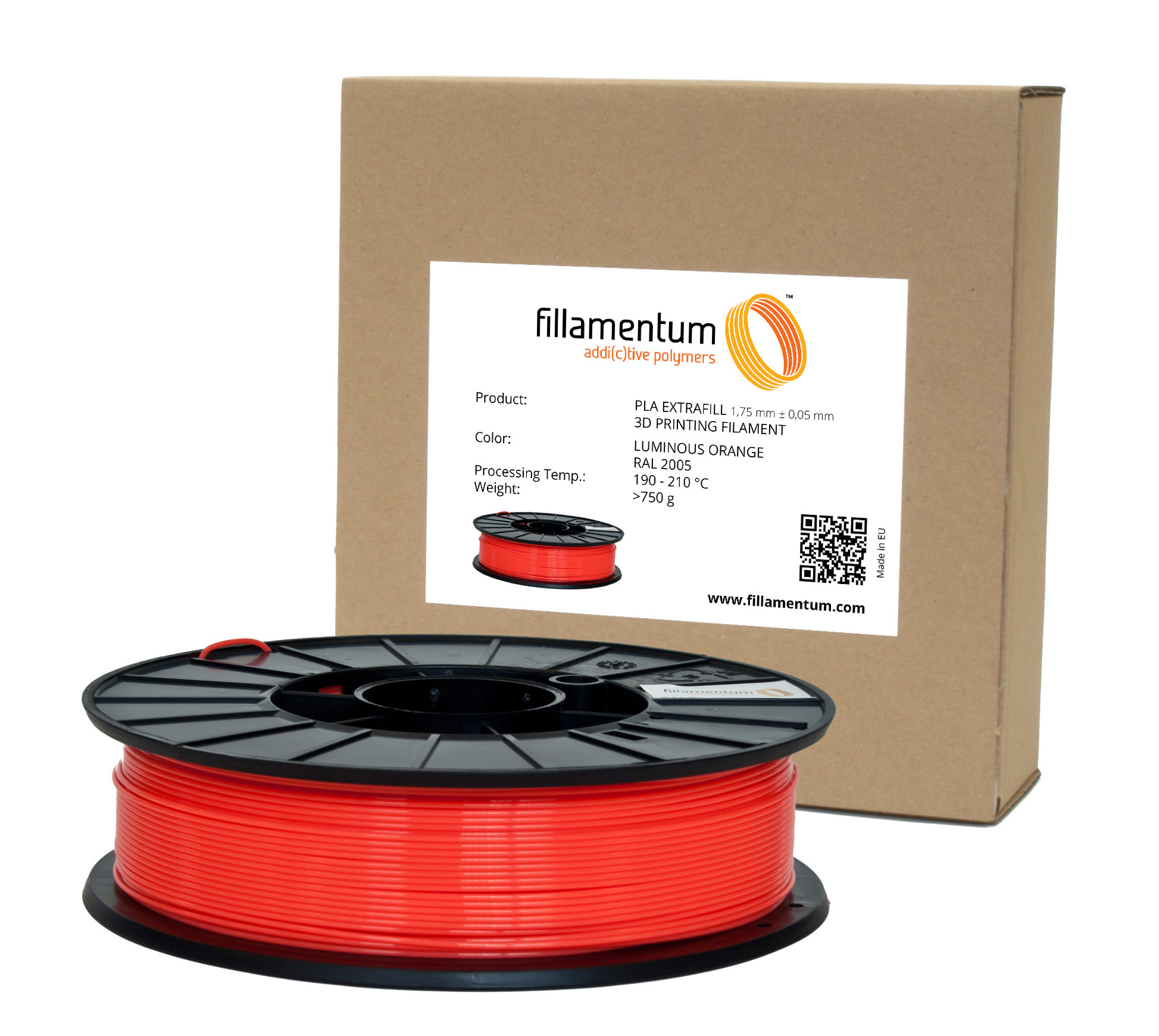 Fillamentum PLA 1,75mm Luminous Orange  RAL 2005