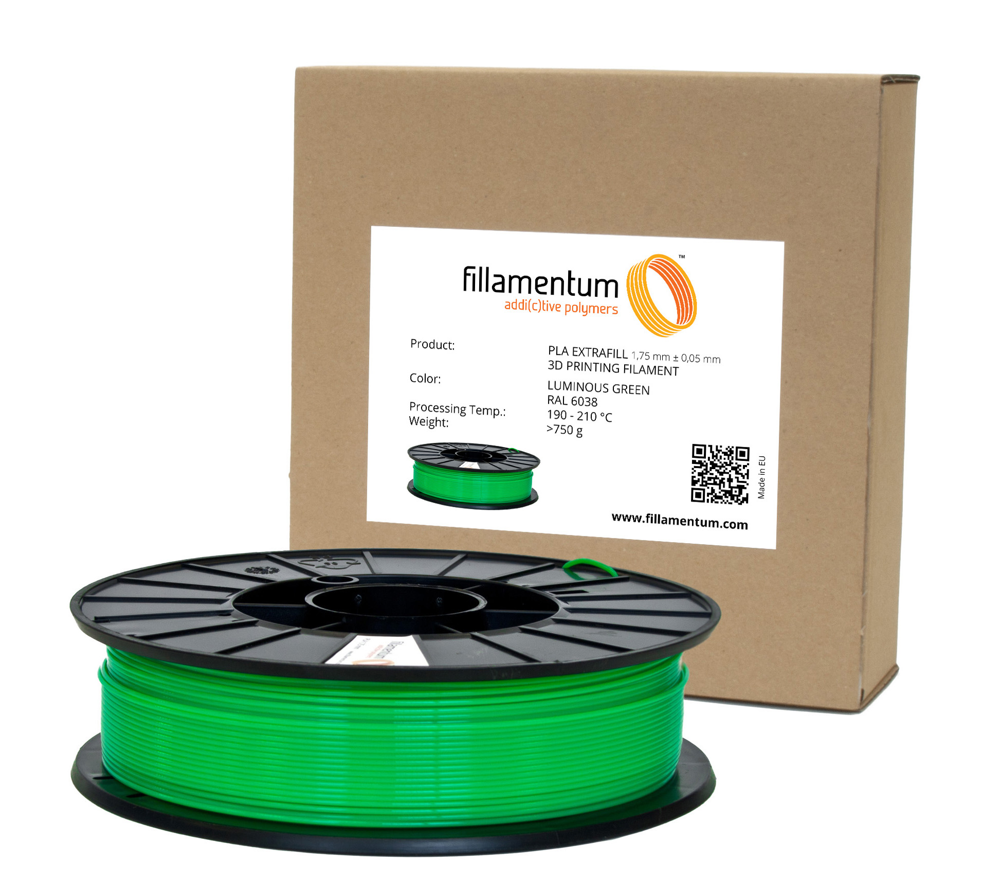 Fillamentum PLA 1,75mm Luminous Green RAL 6038