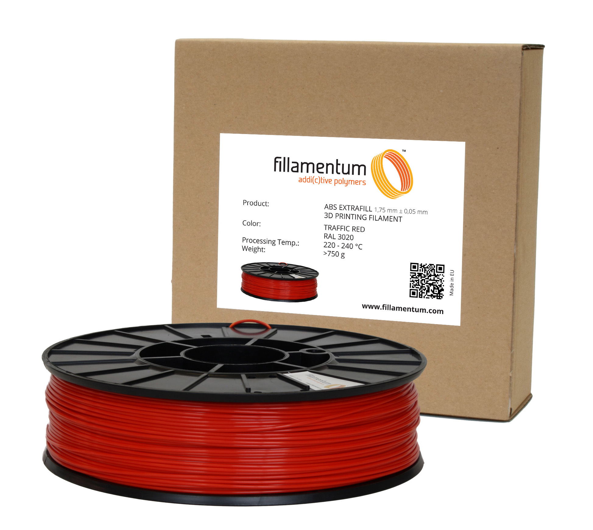 Fillamentum ABS 1,75mm Traffic Red RAL 3020
