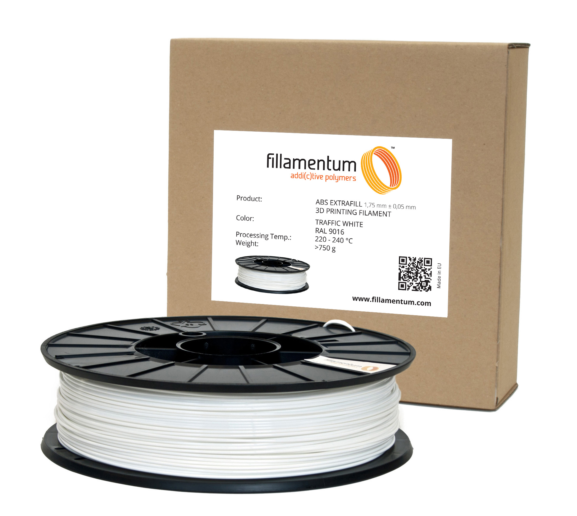 Fillamentum ABS 1,75mm Traffic White Ral 9016