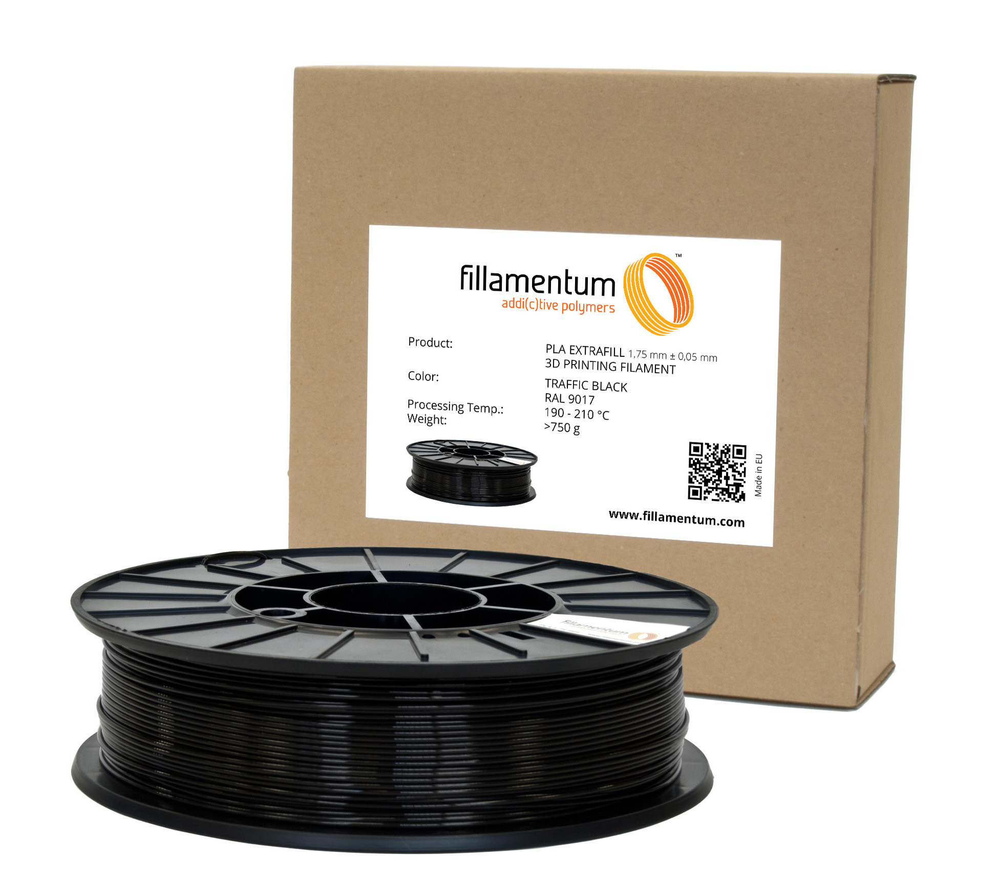 Fillamentum PLA 1,75mm Traffic Black Ral 9017